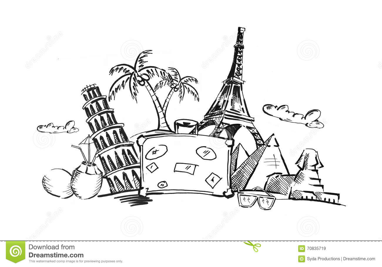 Drawing Of Travel Stuff And Touristic Landmarks Stock