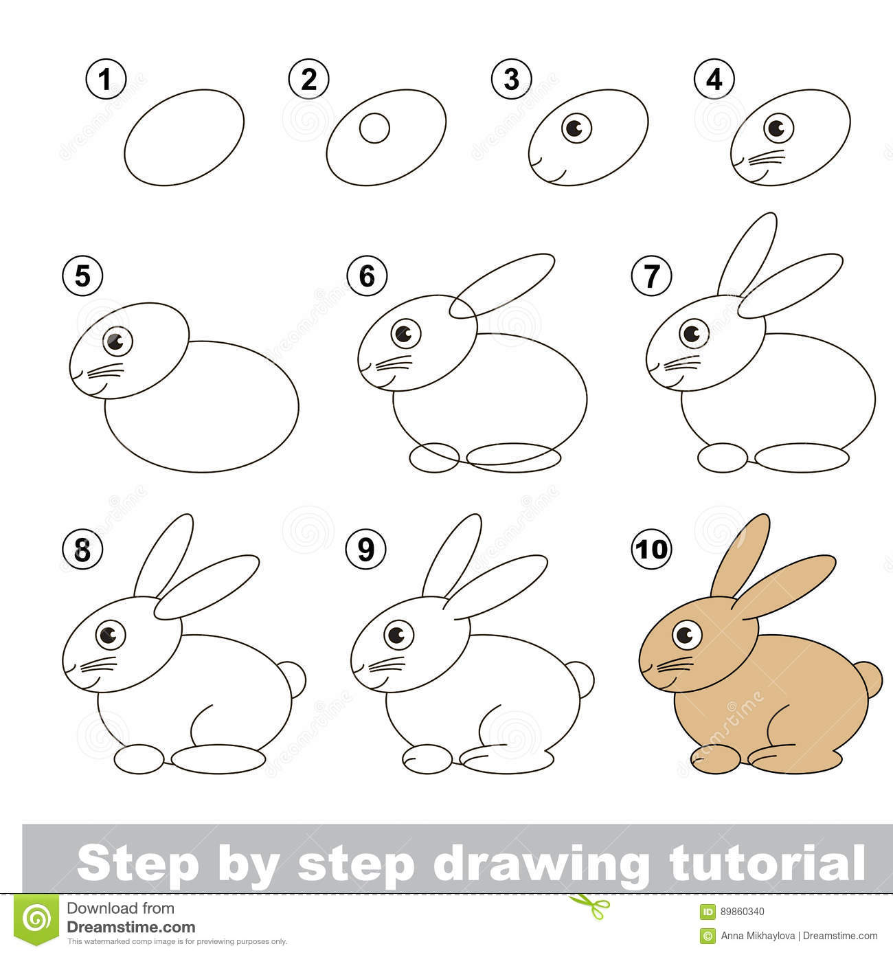 Rabbit Drawing For Kids Step By Step