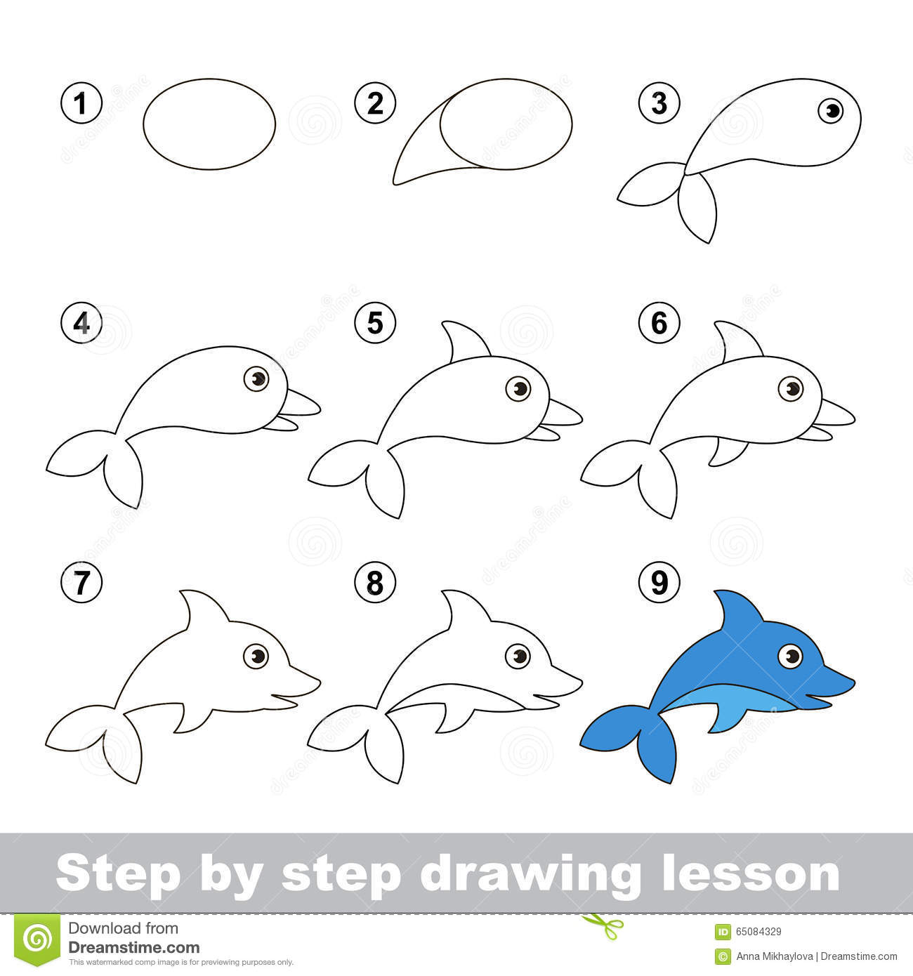 Drawing Tutorial. How To Draw A Dolphin Stock Vector