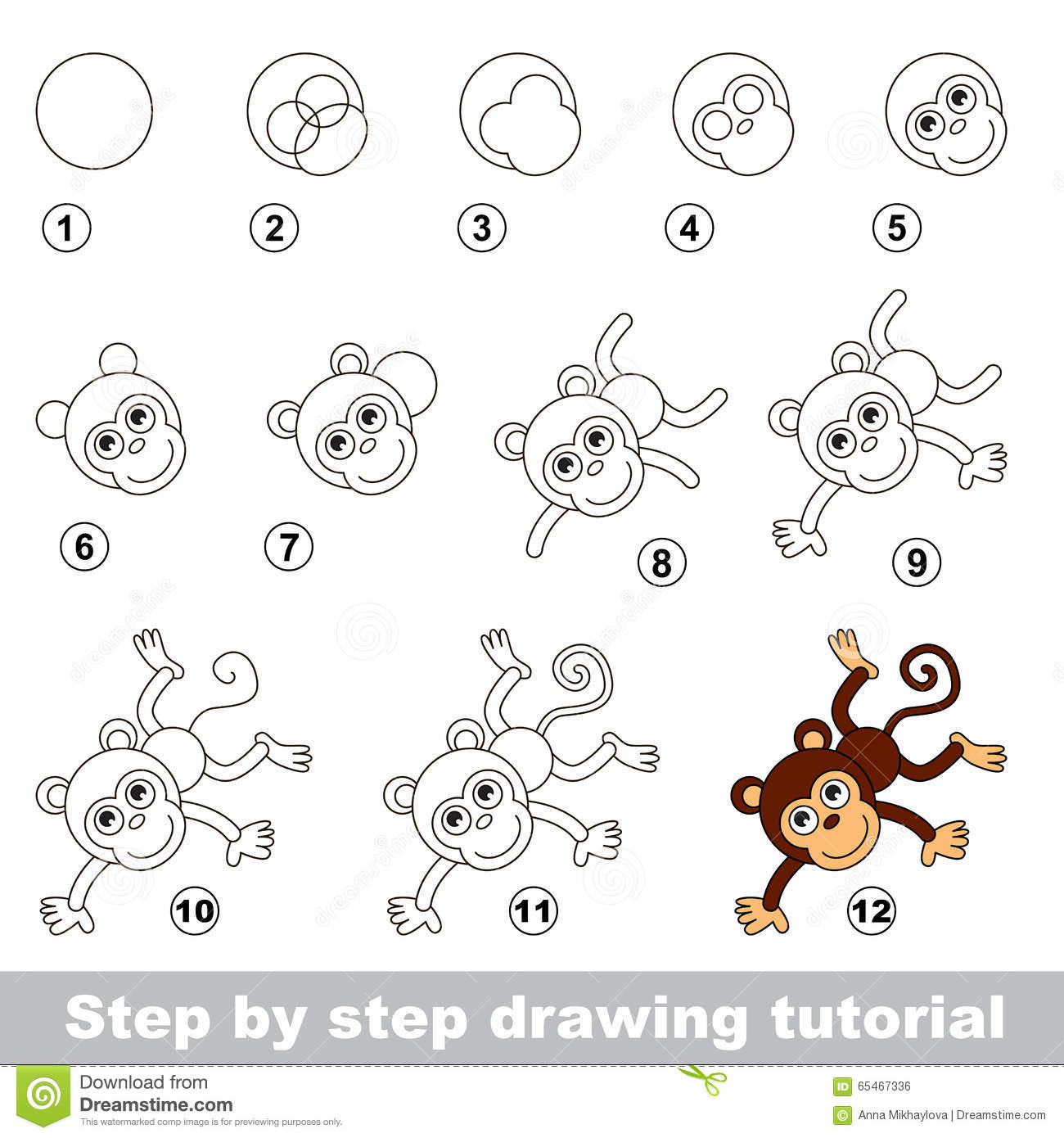 Drawing Tutorial How To Draw A Funny Monkey Stock Vector