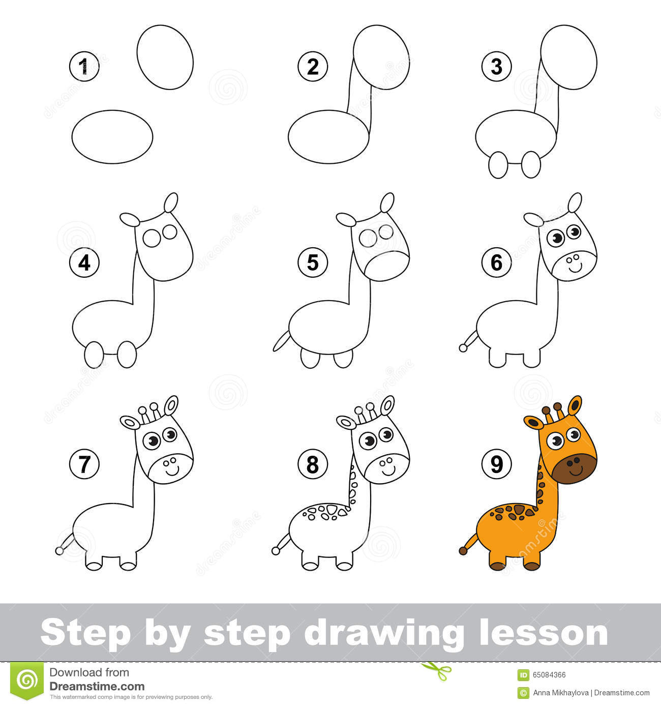 Drawing Tutorial How To Draw A Giraffe Vector