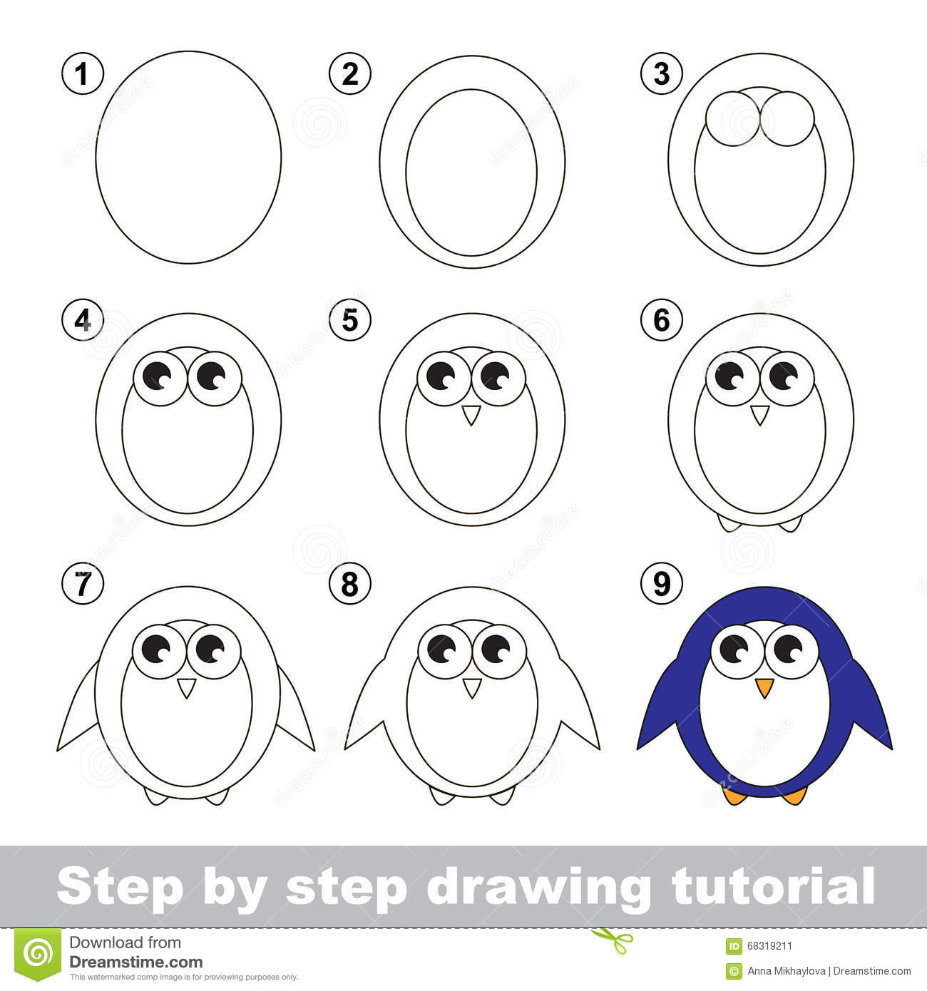 Drawing Tutorial How To Draw A Penguin Stock Vector