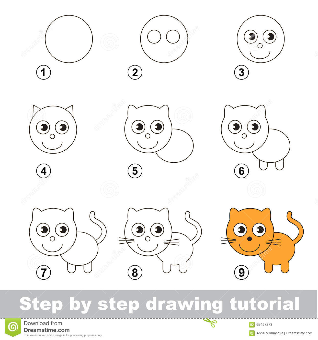 Drawing Tutorial. How To Draw A Small Kitten Stock Vector