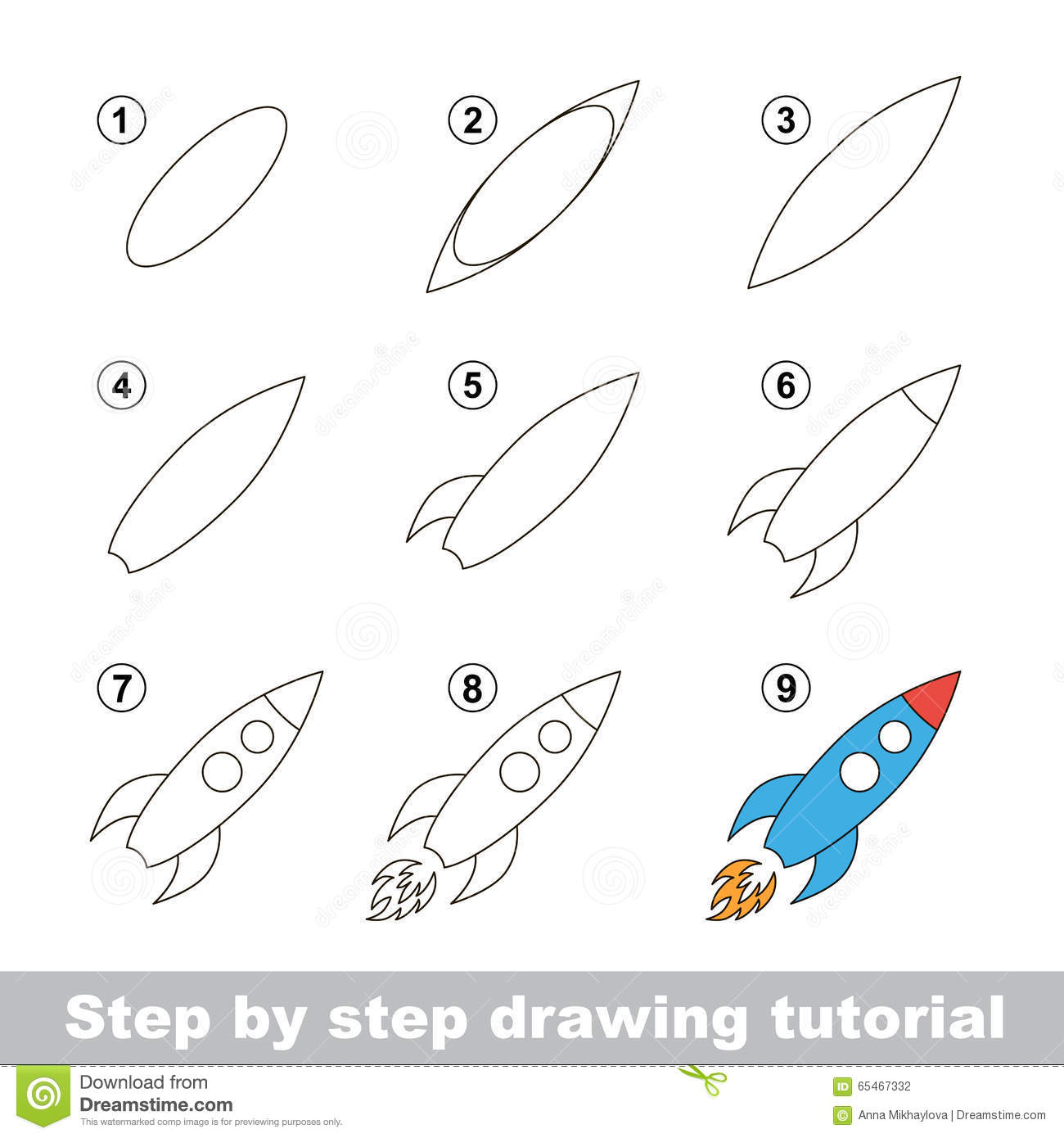 Drawing Tutorial. How To Draw A Toy Rocket Stock Vector