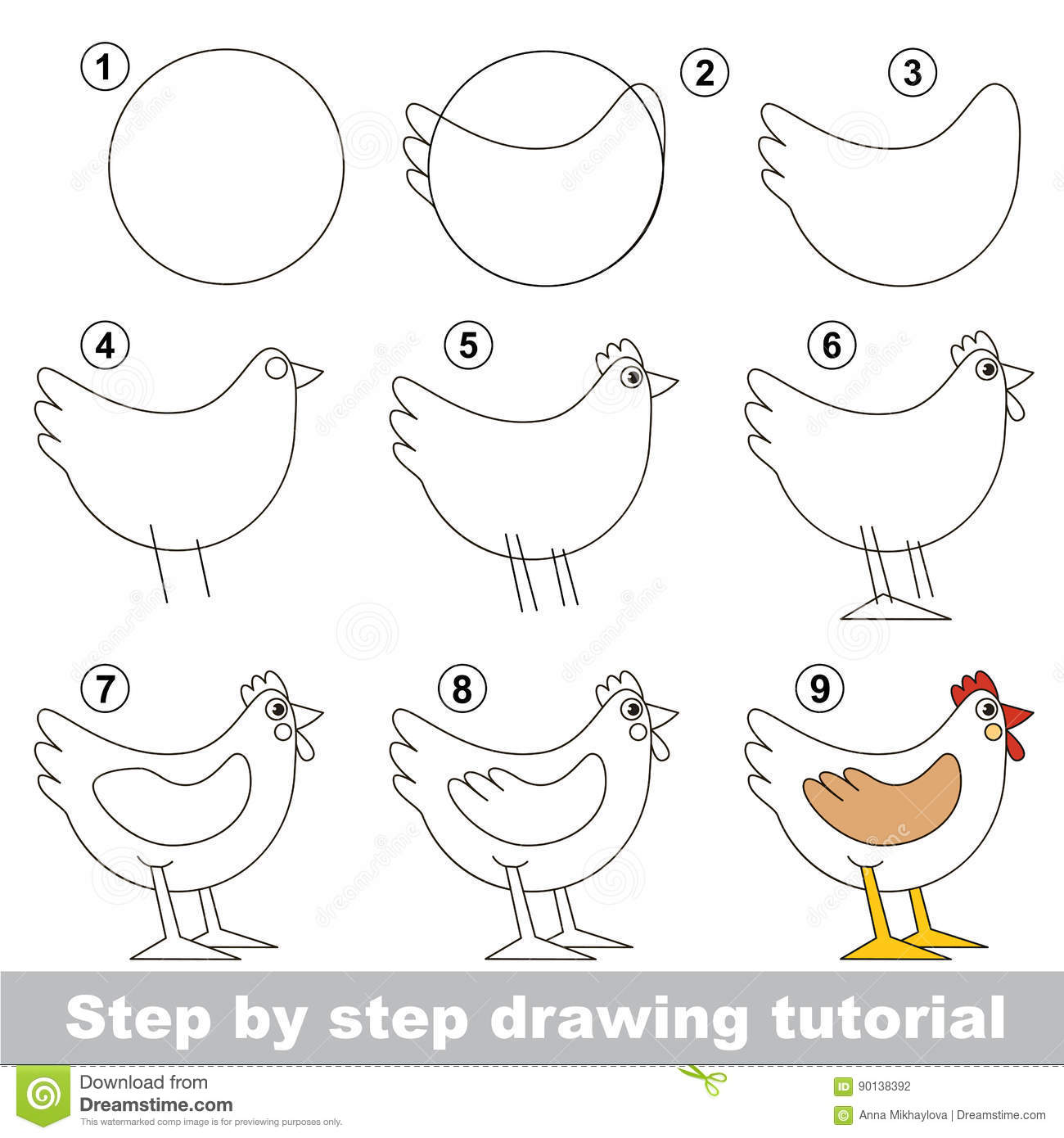 Easy Drawing For Hen Cartoon Rooster Drawing Drawing Sketch Library