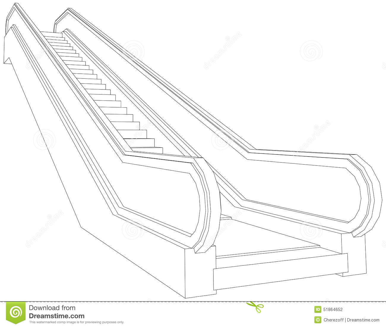 Drawing Of Wire-frame Escalator. Perspective View Stock