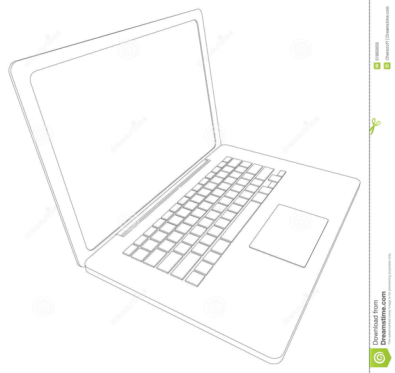 Drawing Of Wire-frame Open Laptop. Perspective Stock