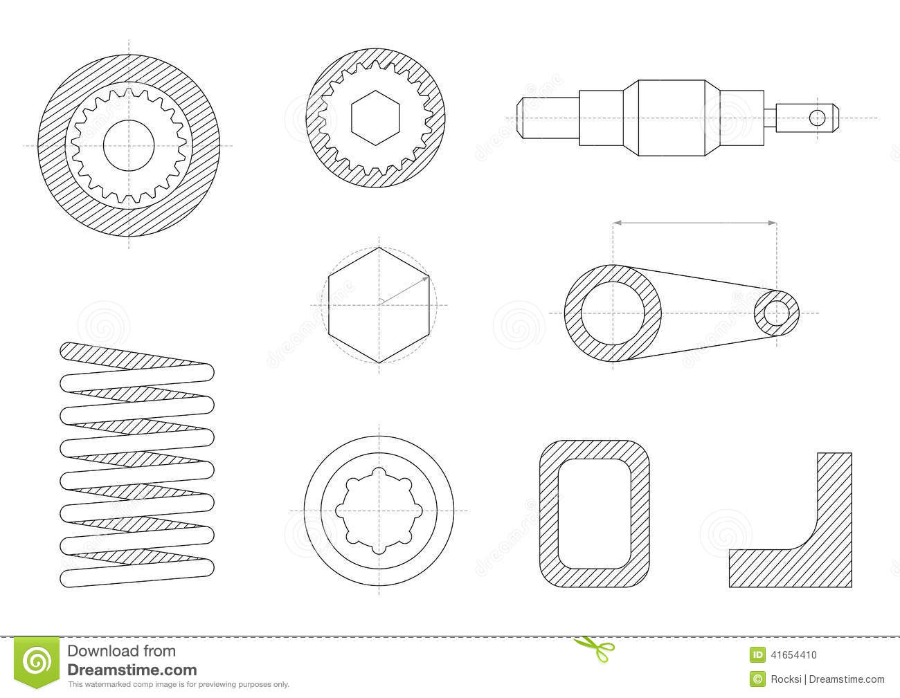 Drawings Of Mechanical Parts Stock Vector