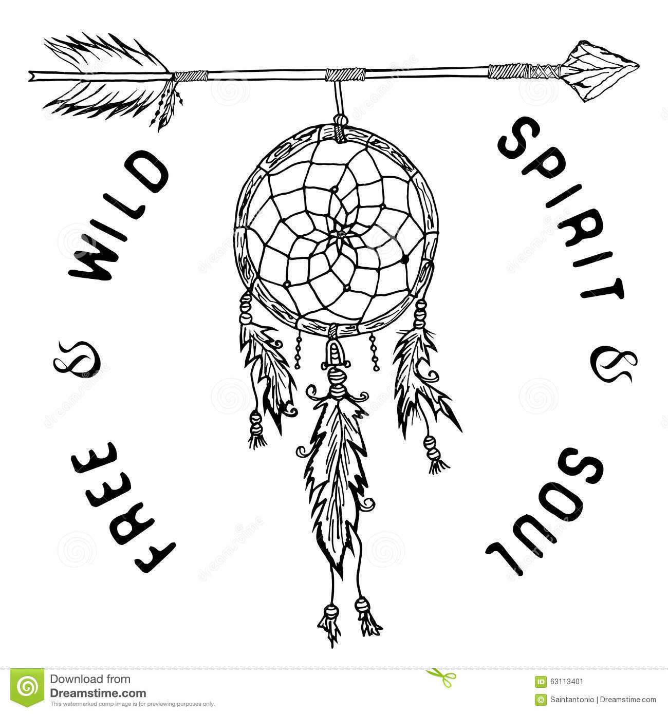Dream Catcher And Arrow, Tribal Legend In Indian Style