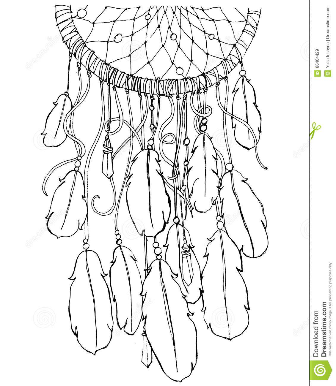 Dream Catcher Coloring Page Stock Vector Illustration Of Card Black 86404429