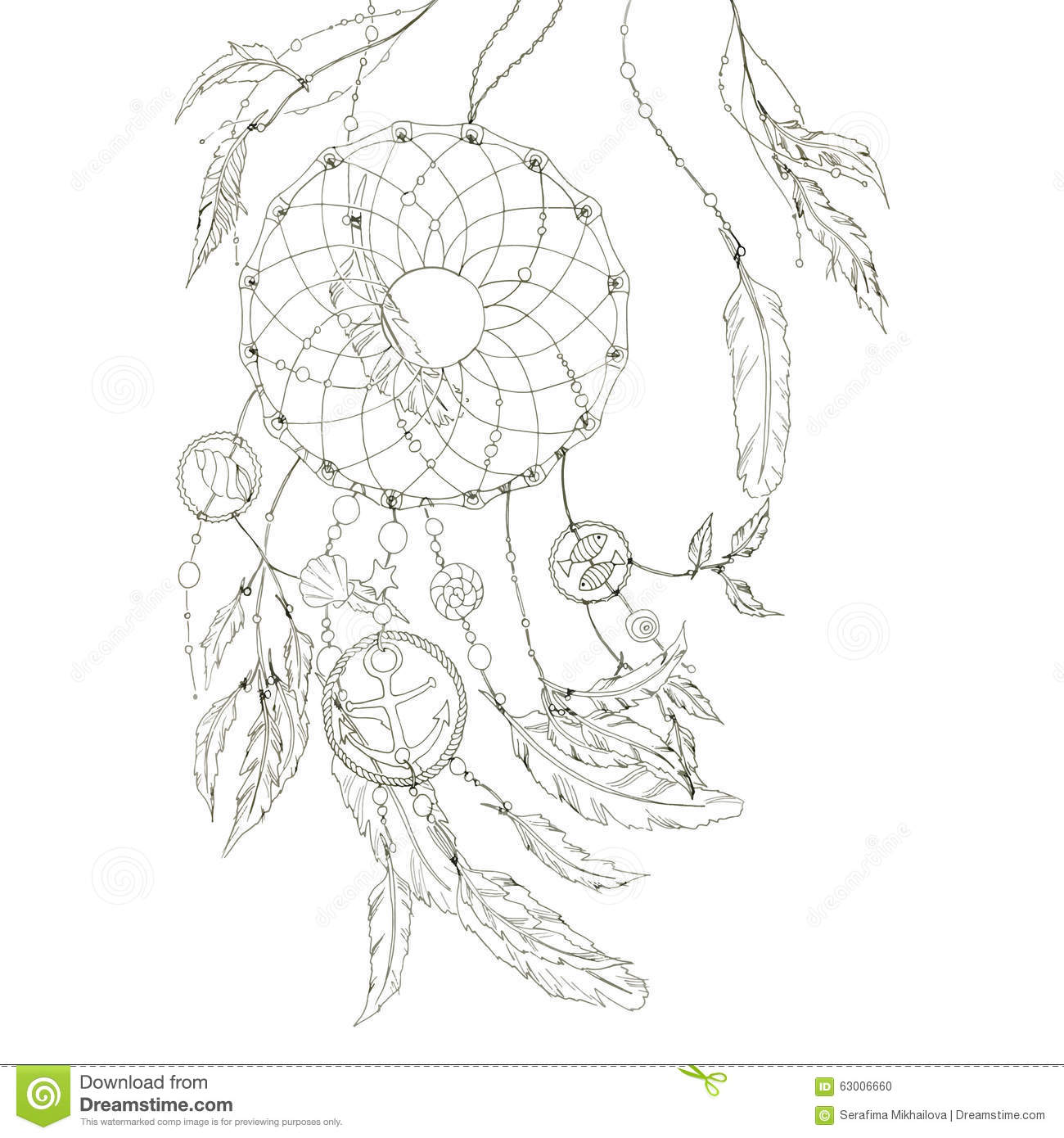 Dream Catcher With Items From The Sea And Feathers. Vector