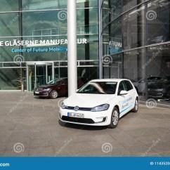 Electric Motor Manufacturer Volkswagen E Golf Diagram For Wiring A Light Switch Plug In Hybrid Car Stands By Charging Dresden Germany April 2 2018 Station Front Of The Glaserne Manufaktur Transparent