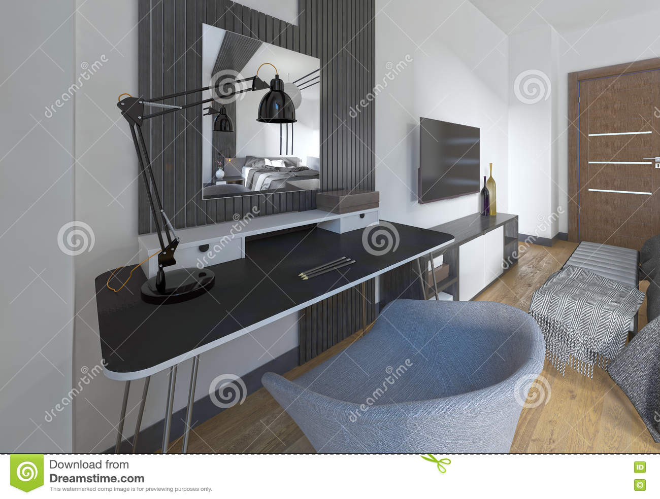 bedroom dressing table chair teak steamer chairs and in a modern stock illustration