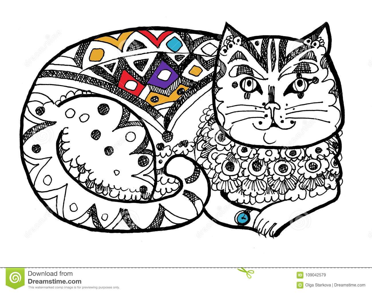 Dressy Cat Coloring Page Colour In Stock Vector
