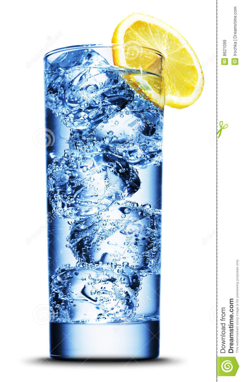 Drink With Ice And Lemon Slice Closeup Stock Image