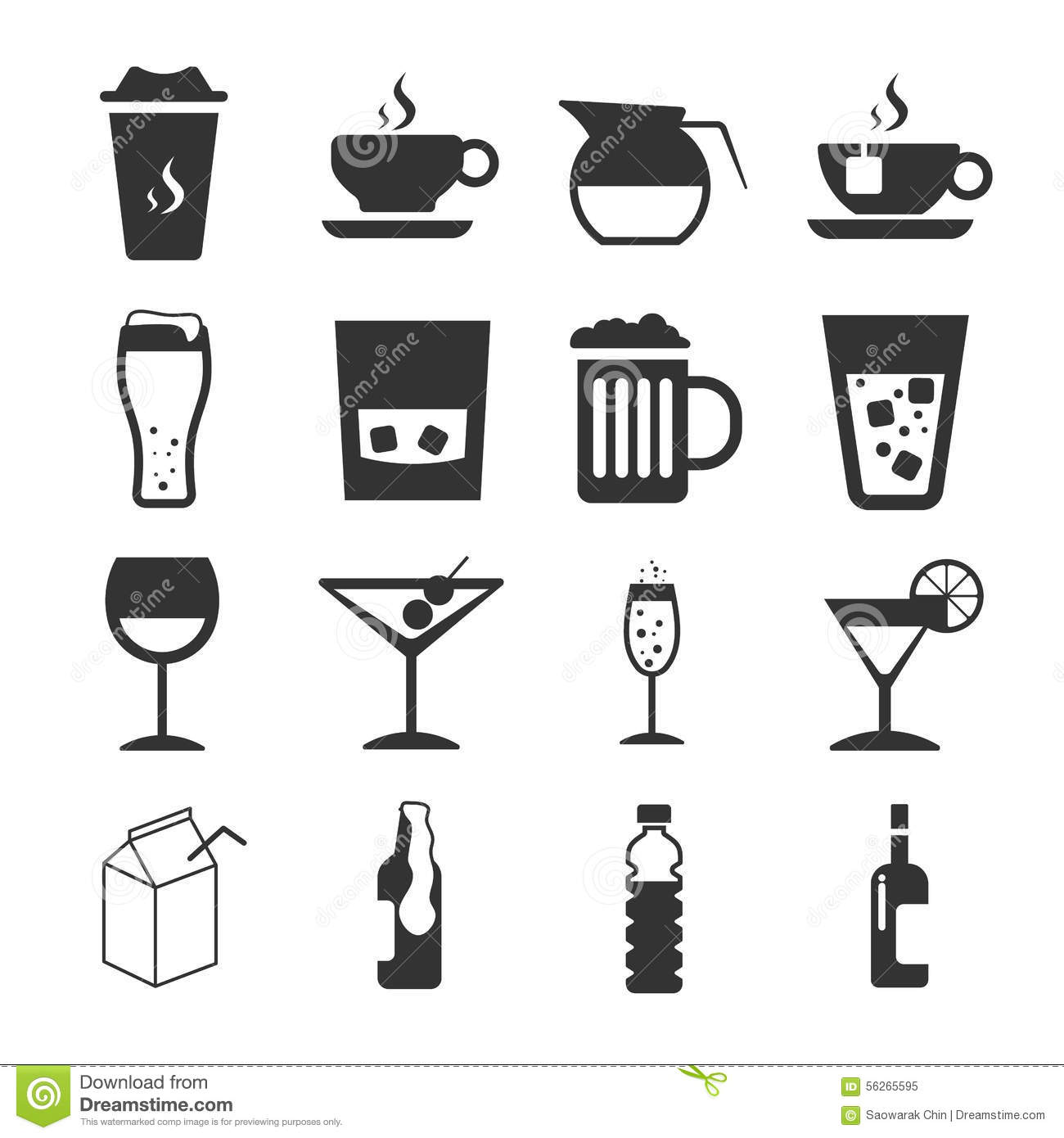 Drink Sign And Symbol Icon Set Stock Vector