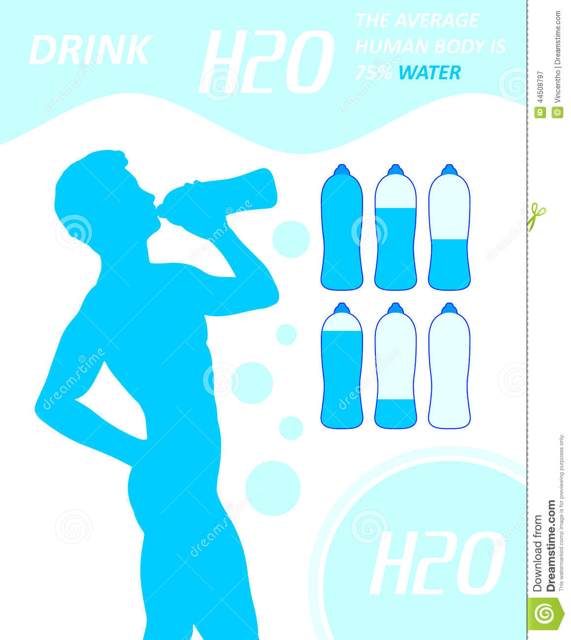 Drinking Man Gulp H2o Water Thirsty Dehydration Stock
