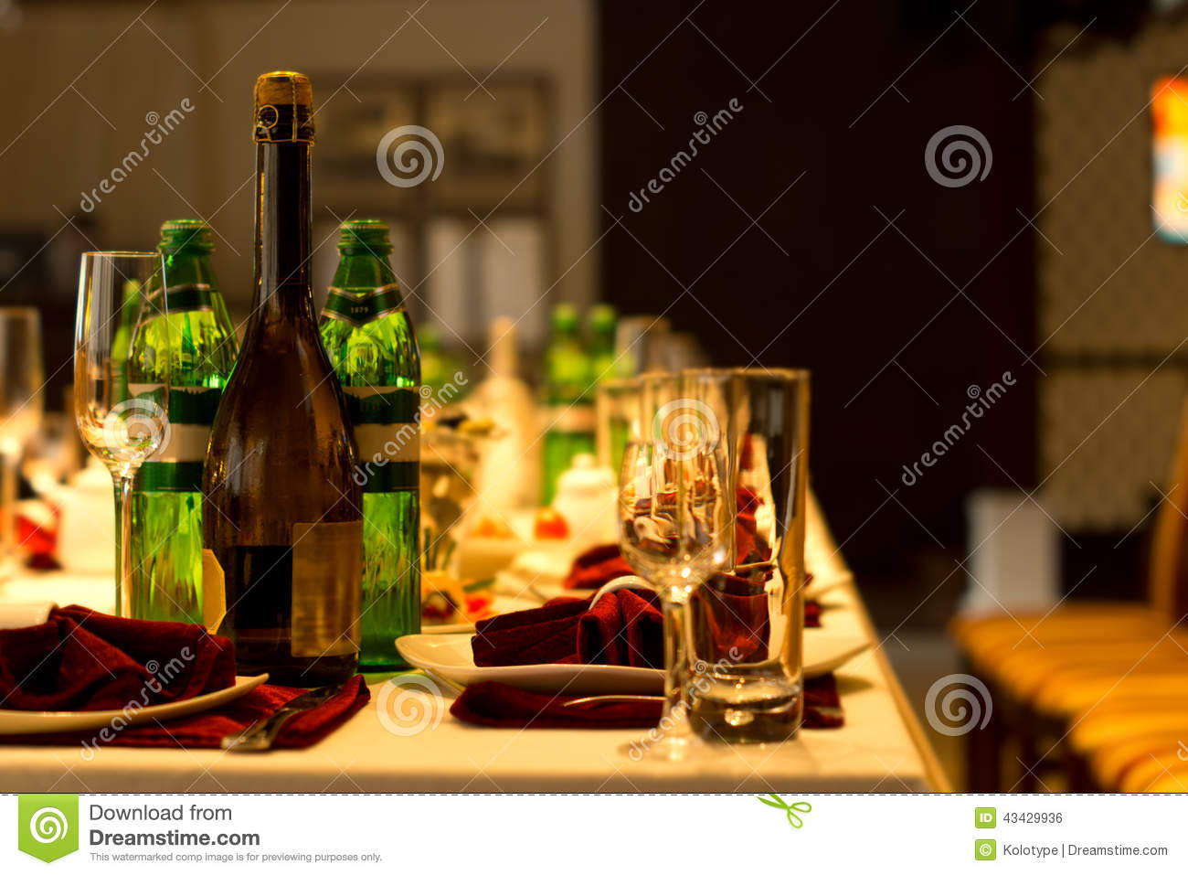 Drinks On A Formal Dinner Table Stock Photo  Image 43429936