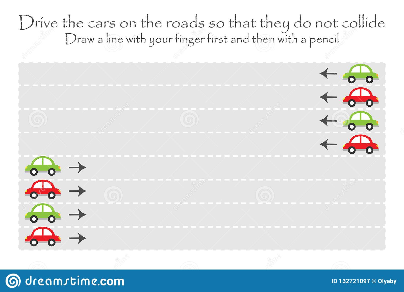 Drive The Cars On The Road In Two Directions Handwriting