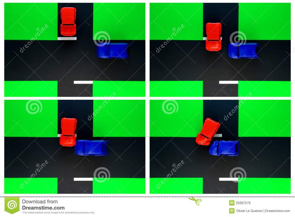 medium resolution of driver ed toy car crash of stop sign road accident