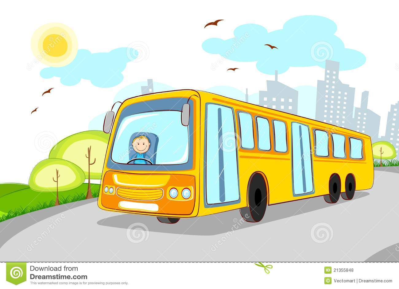 Driver In School Bus Stock Illustration Illustration Of Road 21355848