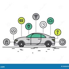 Vehicle Diagram Clip Art 2008 Gmc Radio Wiring Driverless Car Line Style Illustration Stock Vector