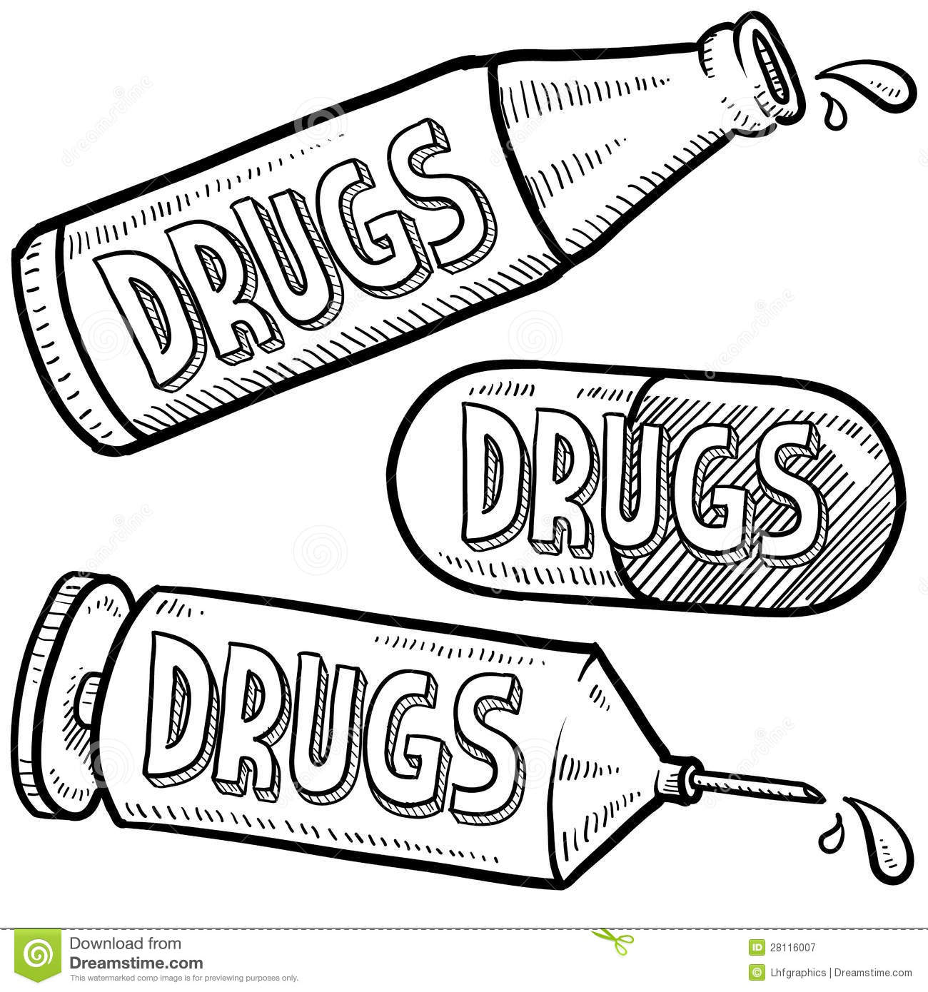 Drug abuse sketch stock vector. Illustration of capsule