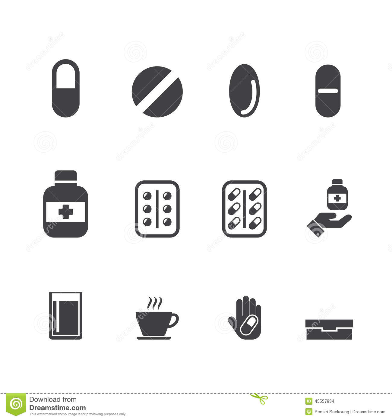 Drug Medication Vector Set Stock Vector