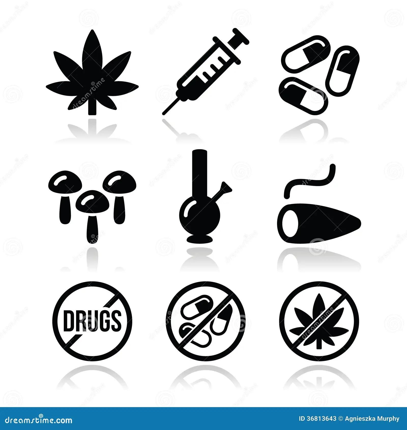 Drugs Addiction Syringe Icons Set Stock