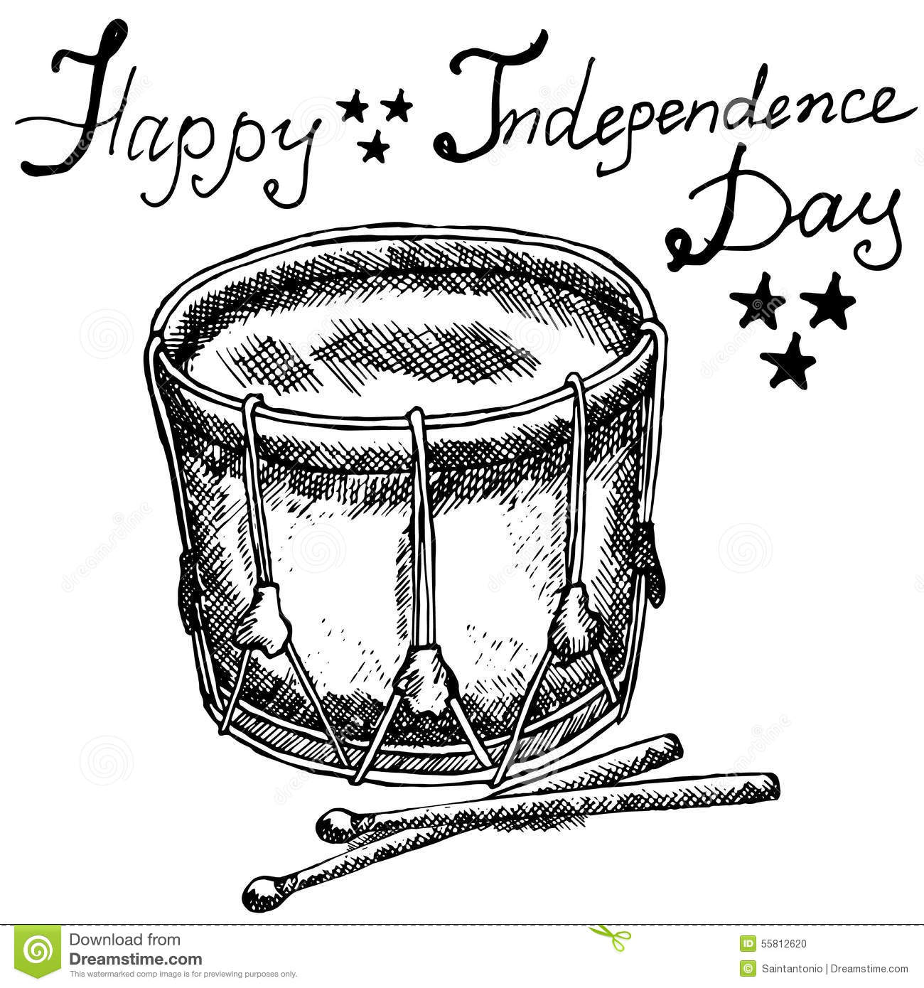 Drum With Drumstiks, American Symbol, Forth Of July, Hand