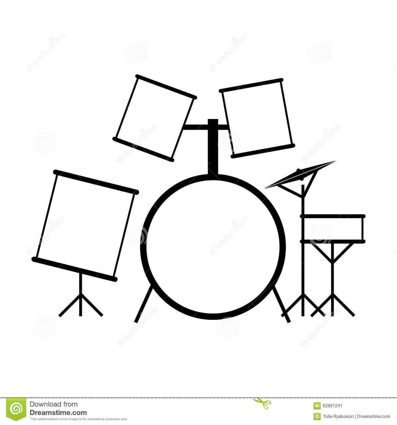 Drum Set Black Icon Stock Illustration