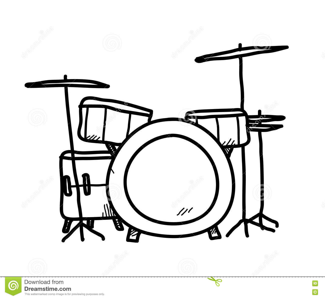 Drum Set Doodle stock vector. Illustration of icon, drums