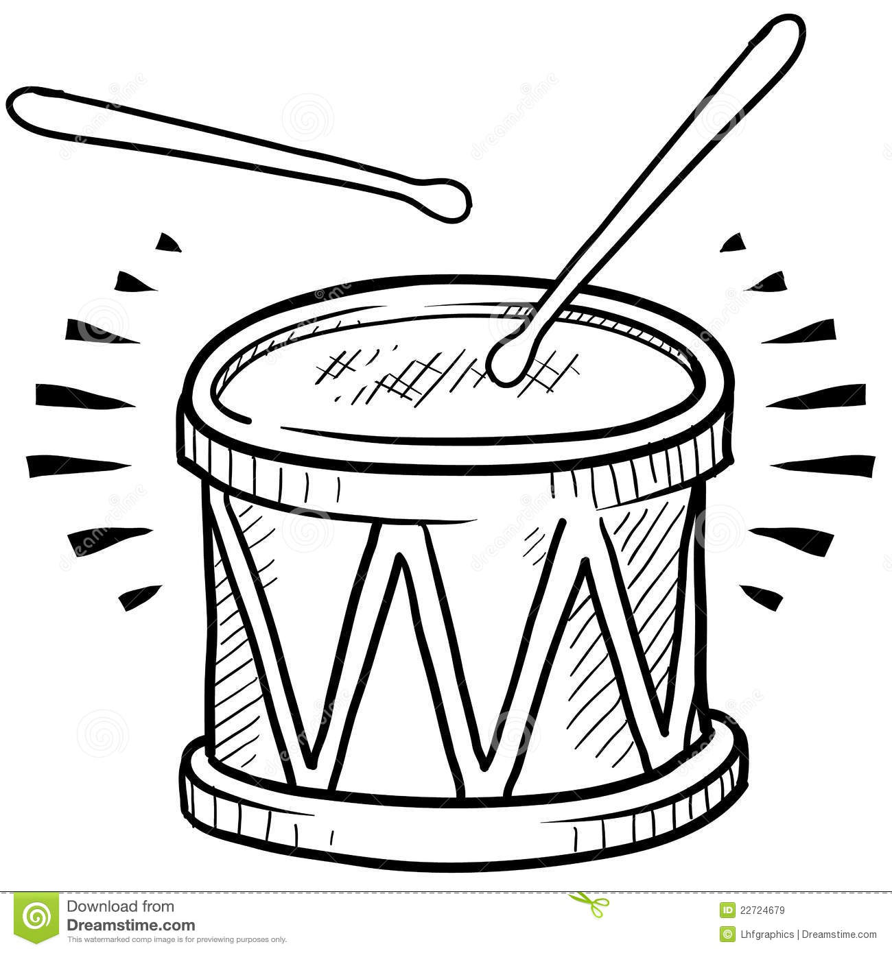 Drum sketch stock vector. Image of drum, snare, marching