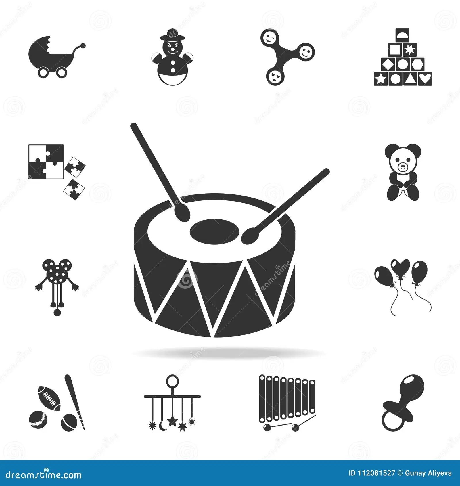 Drum Toy Icon. Detailed Set Of Baby Toys Icons. Premium