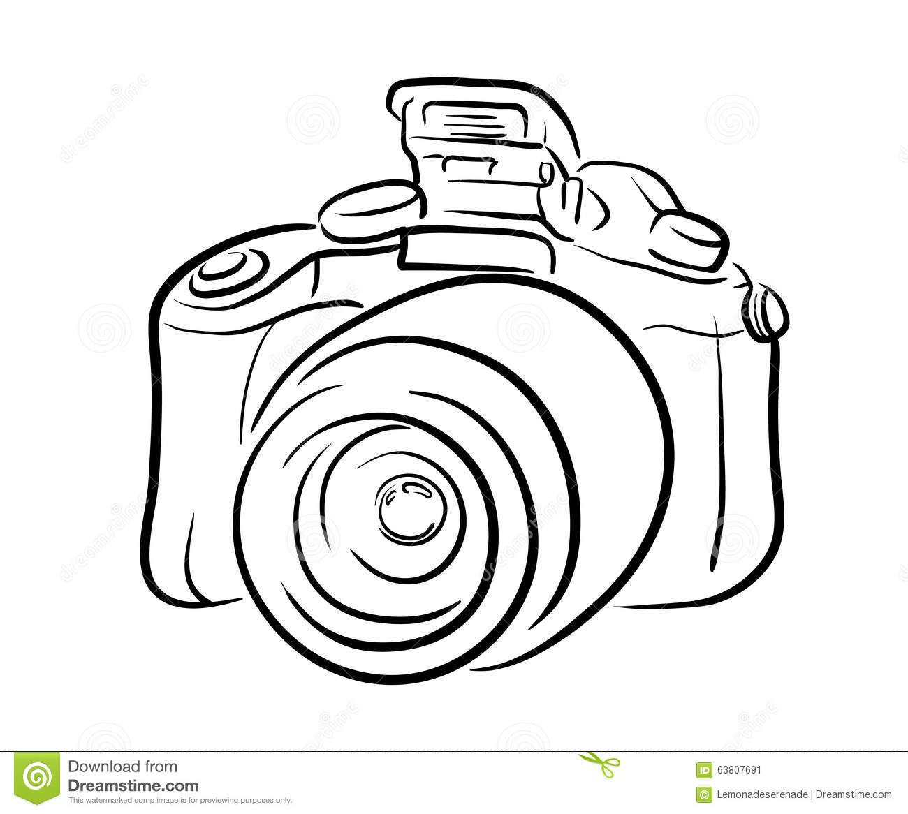 Dslr Camera Line Art Stock Vector