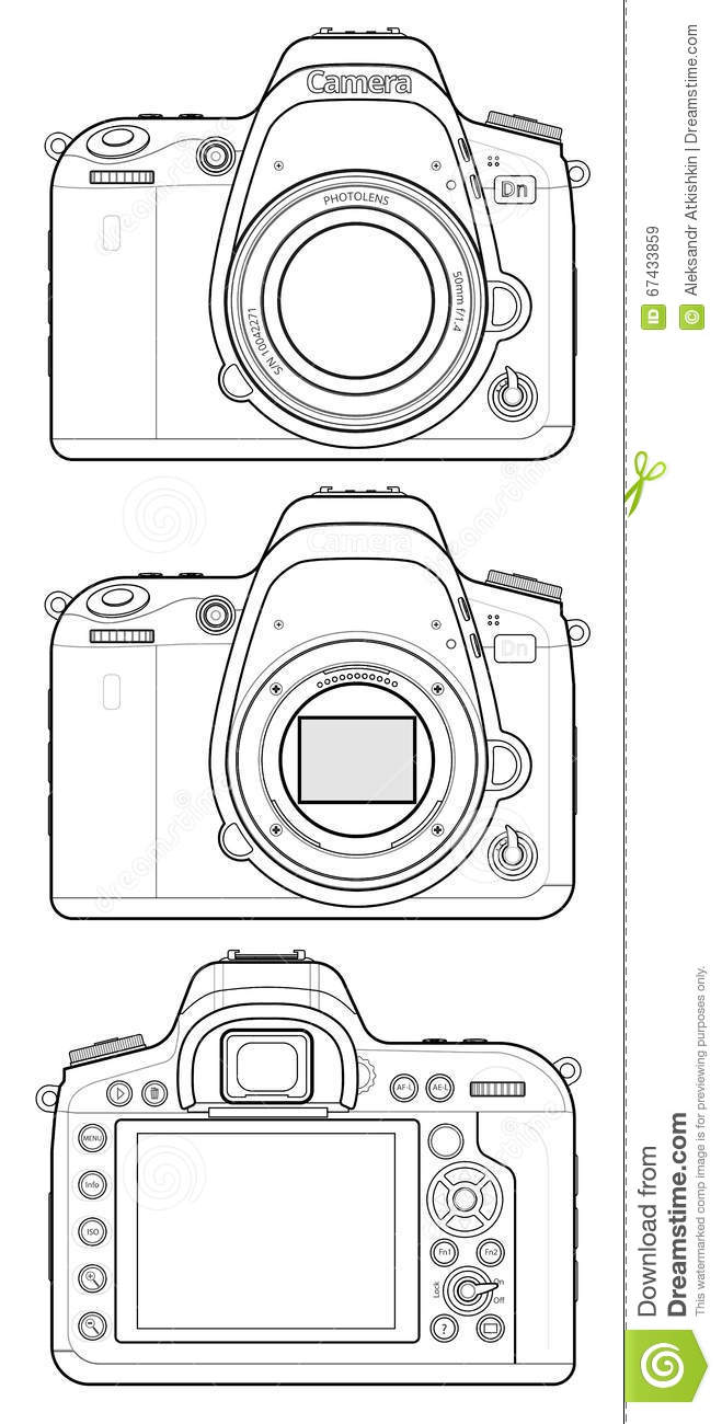 DSLR Camera Outline stock vector. Illustration of