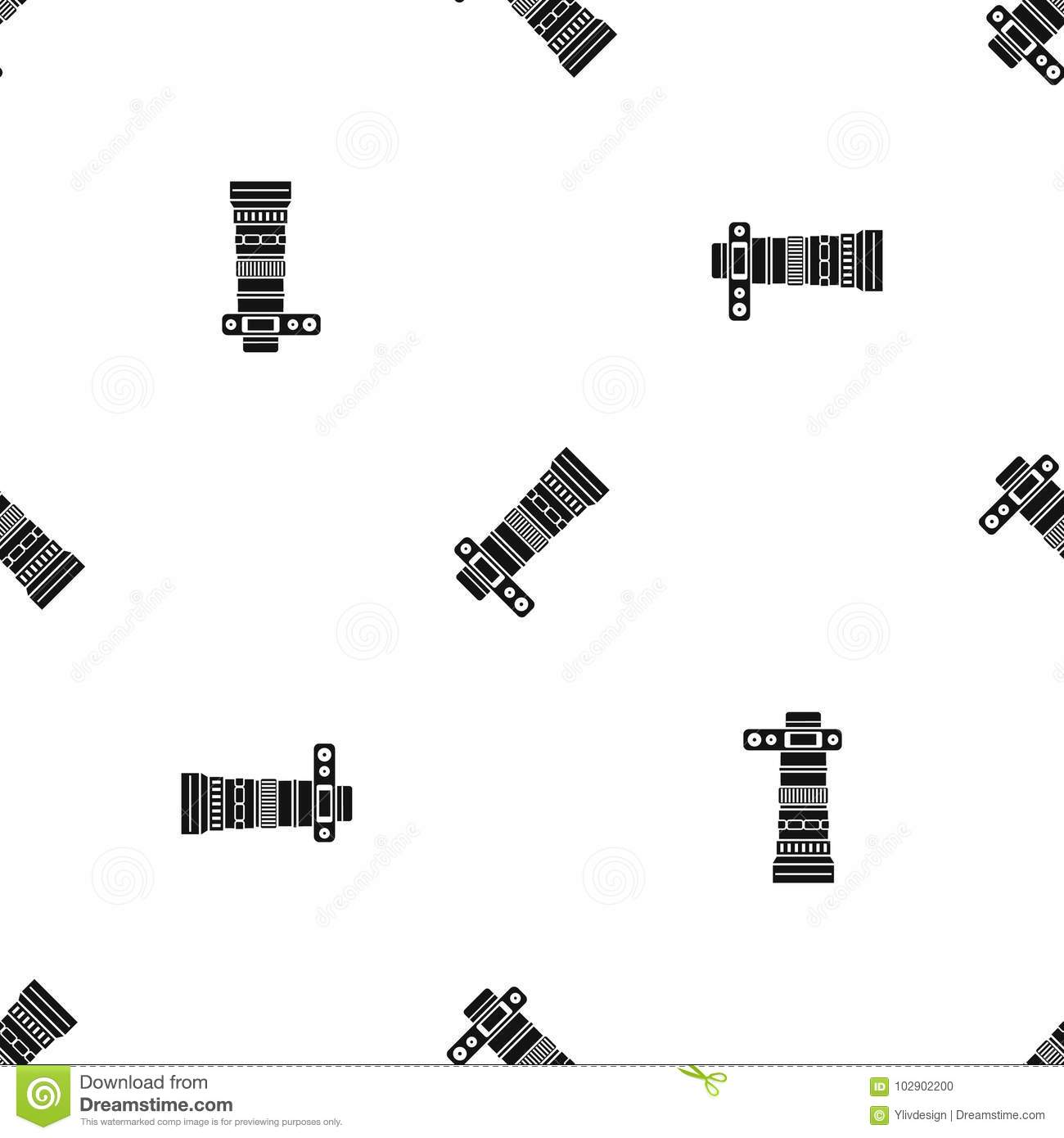 Dslr Camera With Zoom Lens Pattern Seamless Black Stock