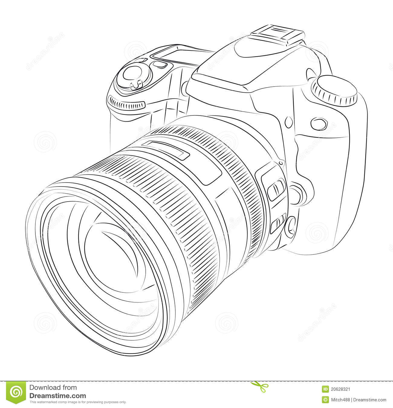 DSLR with lens stock vector. Illustration of focus, photo