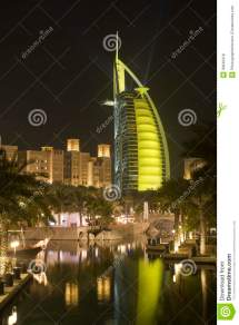 Dubai Uae Colourfully Lit World Famous Burj Al Arab Hotel