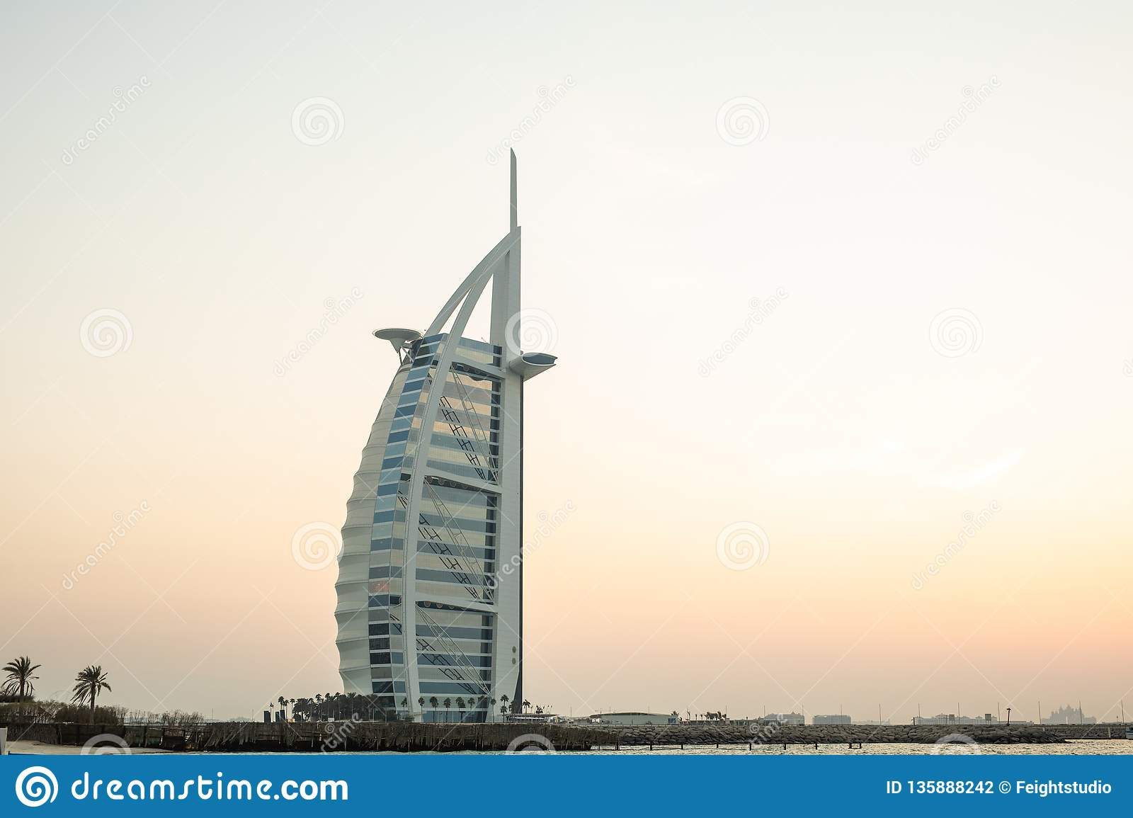 Burj Al Arab Hotel In Dubai Uae Burj Al Arab Is A Luxury 5 Star Hotel Built On An Artificial Island Stock Photo Image Of Arabian East 135888242