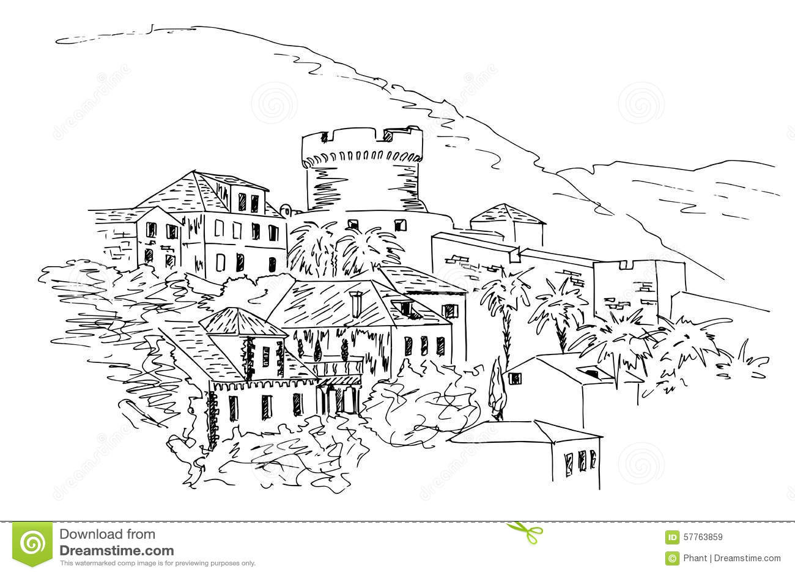 Dubrovnik. Croatia. Black And White Sketch. Stock