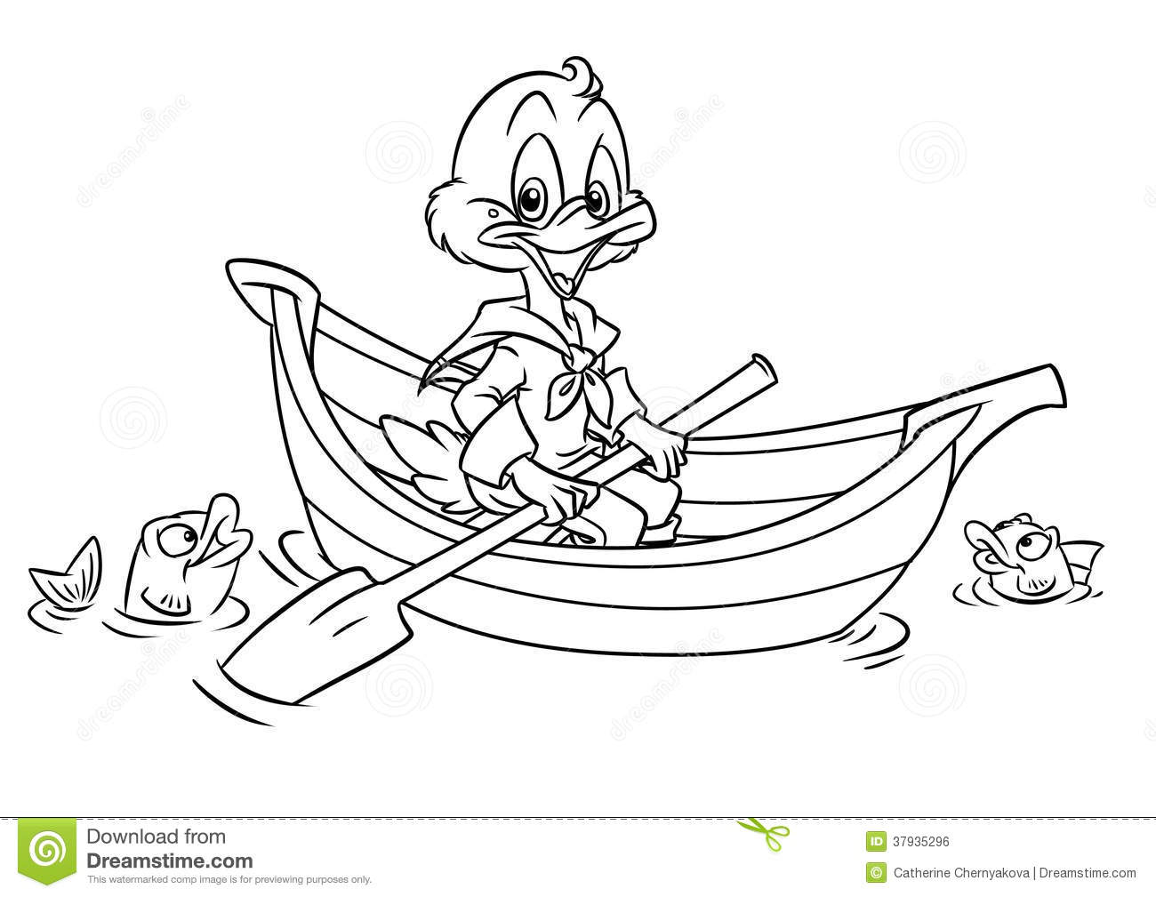Duck In The Boat Coloring Pages Royalty Free Stock Image