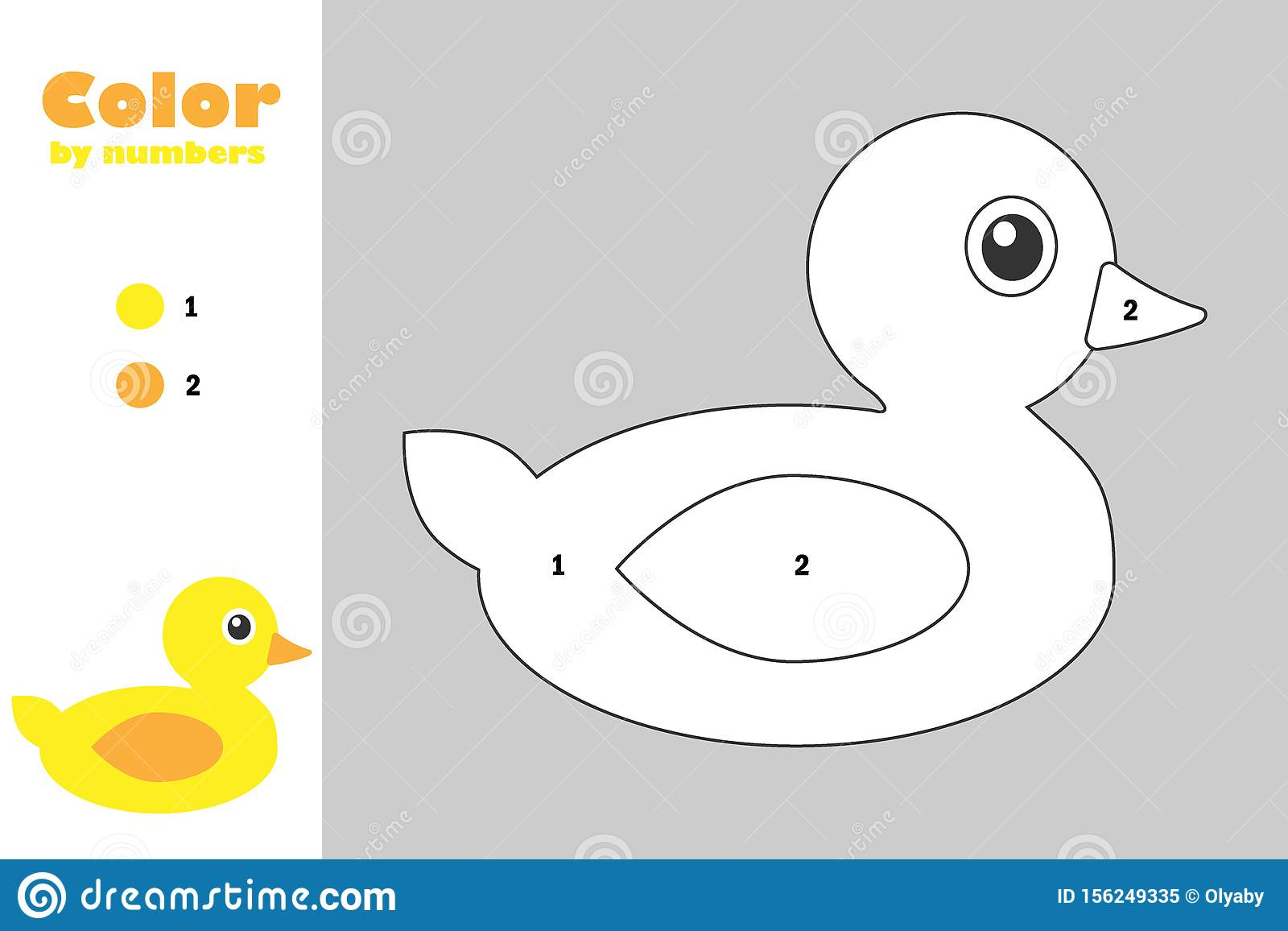 Duck In Cartoon Style Color By Number Education Paper