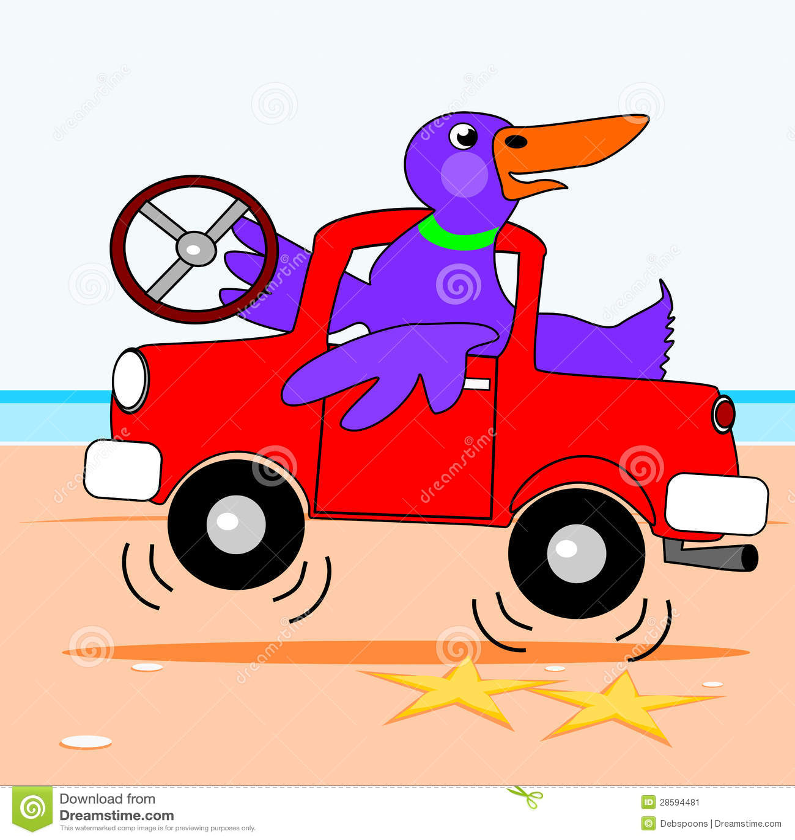 Duck Driving A Truck Stock Vector Illustration Of Ocean
