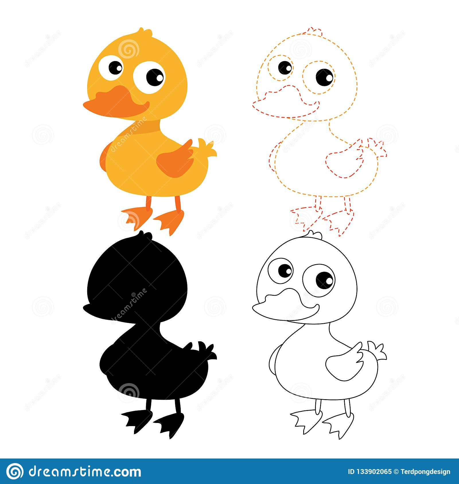 Duck Worksheet Vector Design Stock Vector