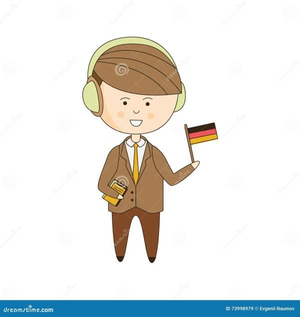 Duitse Toerist Met Audiogids Vector Illustratie