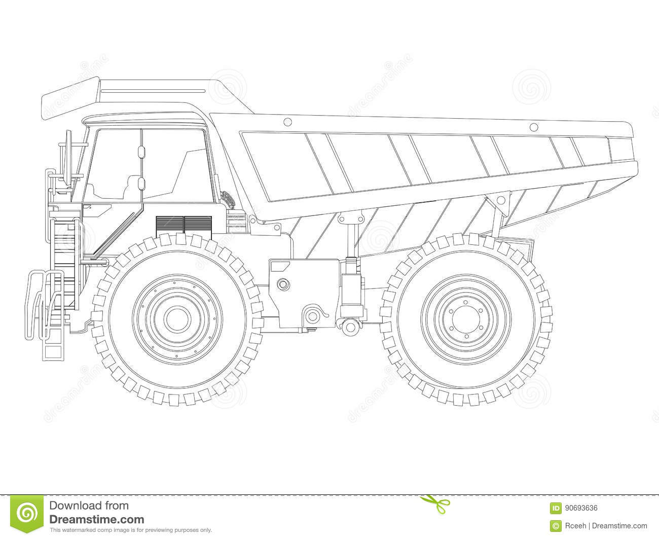 Dump Truck Sketch Stock Vector Illustration Of