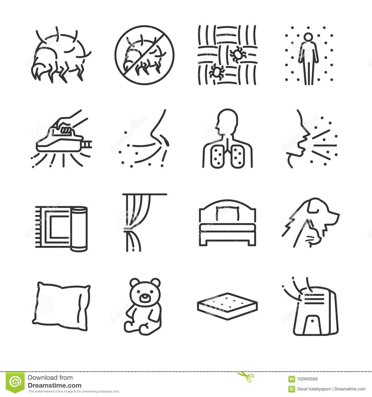 Dust Mites Line Icon Set. Included The Icons As Dust Mites
