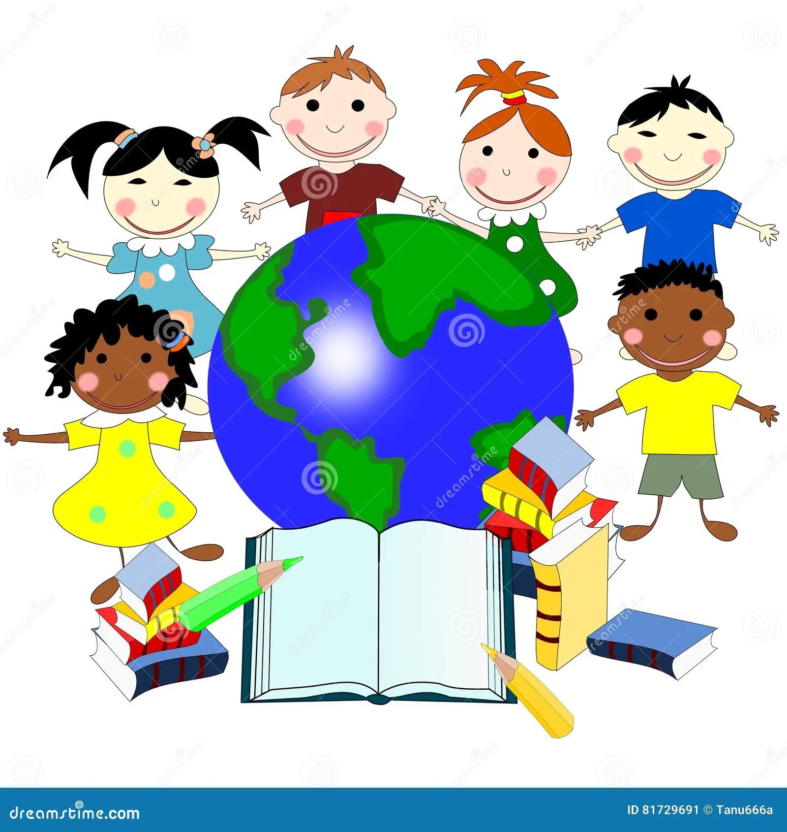 Dzieci Ro Ne Rasy Z Ksi Kami I Mapa Wiat Ilustracji