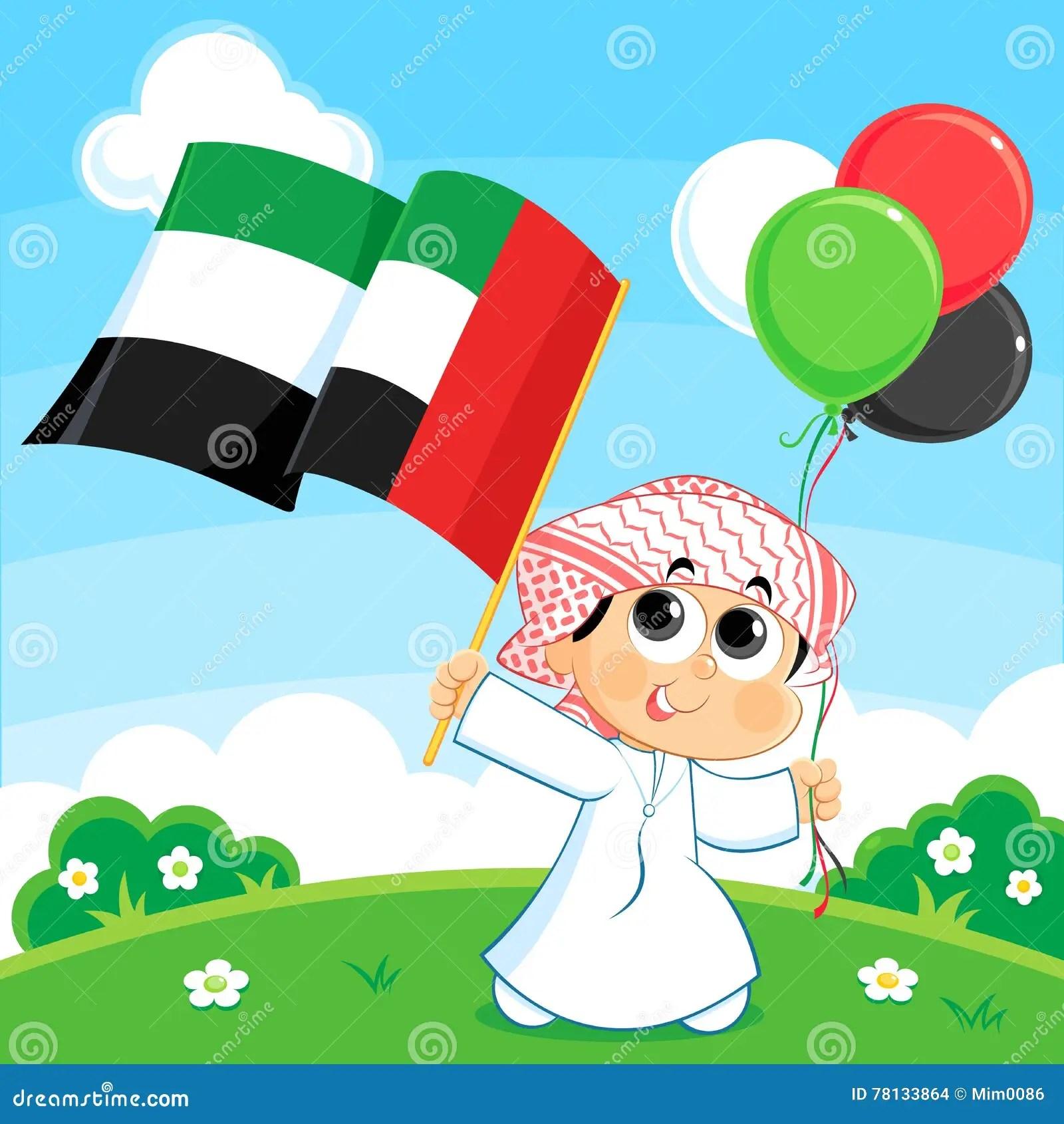 Dziecko Niesie Zjednoczone Emiraty Arabskie Flaga